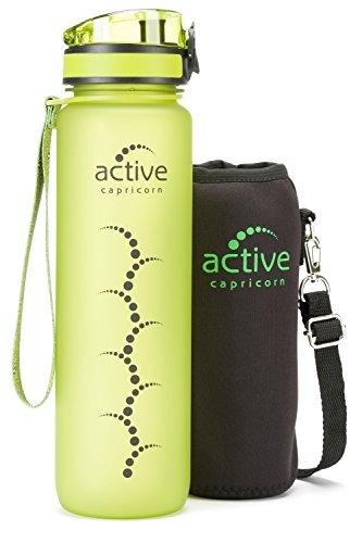 Trinkflasche Sportflasche aus Tritan 1l auslaufsicher BPA frei grün - leichte und robuste Sport Wasserflasche ideal zum Mitnehmen mit Einhand-Verschluss und Thermohülle für Fitness Fahrrad Laufen
