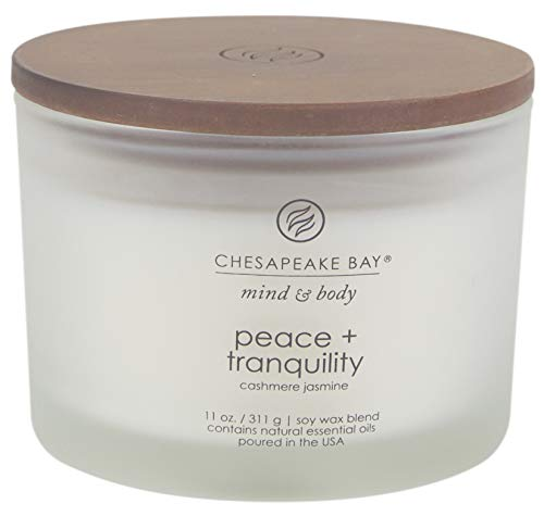 Chesapeake Bay Candle Scented Candle, Peace + Tranquility (Cashmere Jasmine), 11 oz