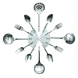 Timelike Wall Clock, 16 Metal Kitchen Cutlery Utensil Spoon Fork Wall Clock Creative Modern Home Decor Antique Style Wall Watch (Silver)