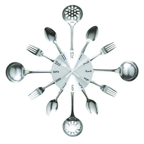 Timelike Küchenutensilien Uhr für Küche Déco Indoor und Outdoor, Küche Besteck Wanduhr mit getönten Gabeln, Löffel, Spatel,Heimdekoration