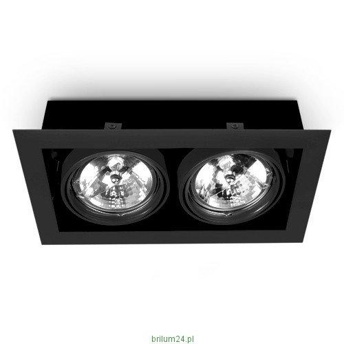 LED AR111 ES111 Deckenleuchte Einbaustrahler, 35x20cm LED Downlight Beleuchtung, Eckig Einbaustrahler + GU10 fassung (2x SCHWARZ)