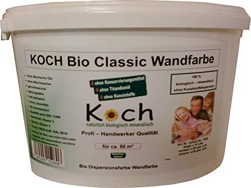 Koch-Bio-Classic-Wandfarbe-Weiß Innenfarbe Anstrich innen ohne Kunststoffe Konservierung Titandioxid Dispersionsfarbe (10 Liter)