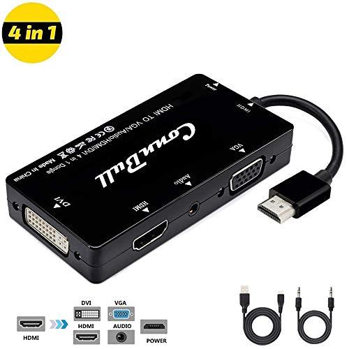 Multi HDMI Adapter, Aufgerüstet ConnBull HDMI auf HDMI DVI VGA Adapterkabel 1080P Konverter für Laptop Computer, PC Monitor, Beamer, HDTV