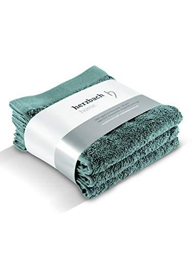 herzbach home Luxus Handtuch Seiftuch 3er-Set Premium Qualität aus 100% ägyptischer Baumwolle 30 x 30 cm 600 g/m² extra weich (Ozeangrün)