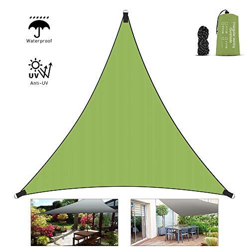 Vivibel Sonnensegel, Dreieck 3x3x3m Wasserabweisend Sonnenschutz Schattensegel Segeltuch mit 3xBefestigungsseile(2 m) und Tragtasche für Garten Terrasse Balkon