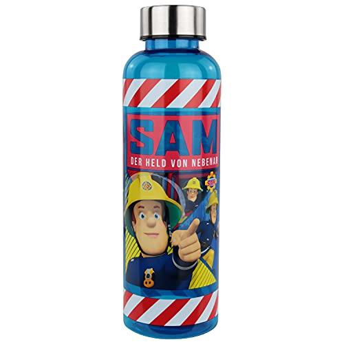POS 32775 – Botella con diseño de Sam el bombero, transparente con cierre de rosca de acero inoxidable, sin BPA, capacidad aprox. 500 ml, ideal para la escuela, el deporte y el tiempo libre