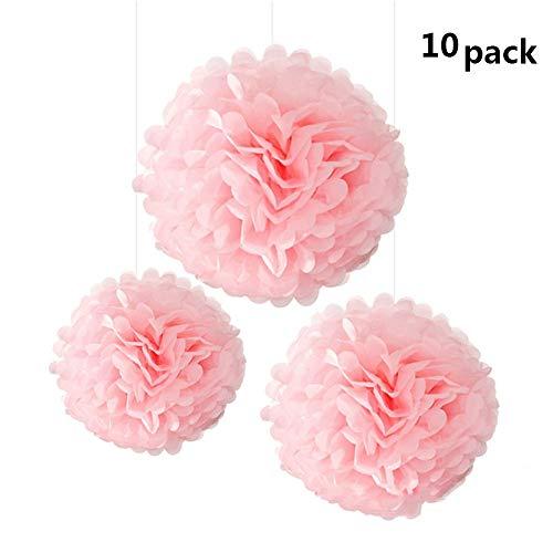 Aofocy Juego de 10 Pompones de Papel de Seda Color Rosa Que cuelgan Bolas de Flores Banquete de Boda Ducha Nupcial Decoración de guardería (10 Pulgadas)
