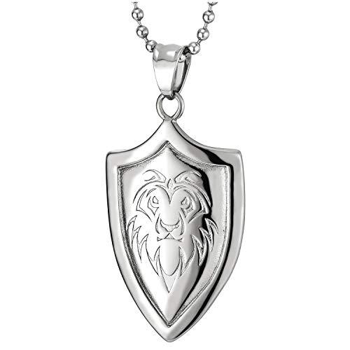 COOLSTEELANDBEYOND León Rey Pulido Escudo Colgante, Collar con Colgante de Hombre, Acero, Cadena de Bolas 75CM