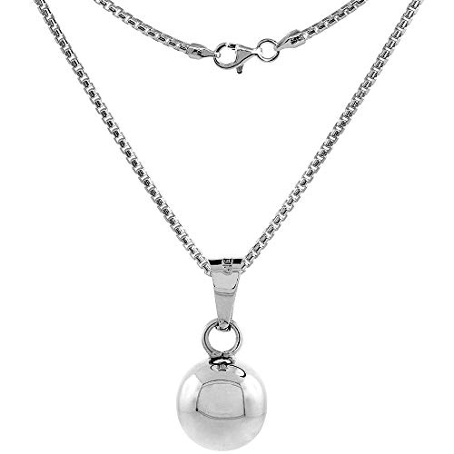 Sterling Silver Harmony Ball Necklace 1/2 inch Round High Polished Handmade 24 inch BXR_200