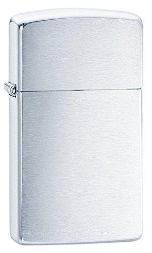 Zippo Brush Slim Mechero, Metal, Brushed Chrome, 3.5x1x5.5 cm