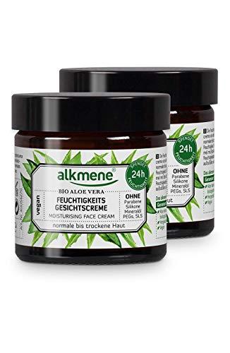 alkmene Gesichtscreme mit Bio Aloe Vera - Tagescreme für normale bis trockene Haut - vegane Gesichtscreme ohne Silikone, Parabene, Mineralöl, PEGs, SLS & SLES im 2er Pack (2x 50 ml)