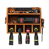 simesove Power Tools Storage and Cabinets, Power Tool Charging Station,4 Drill Hanging Slots, Wall Mount Tools Garage Storage, Screwdriver Cordless Drill Organizer Wooden (Power Strip is Not Included)