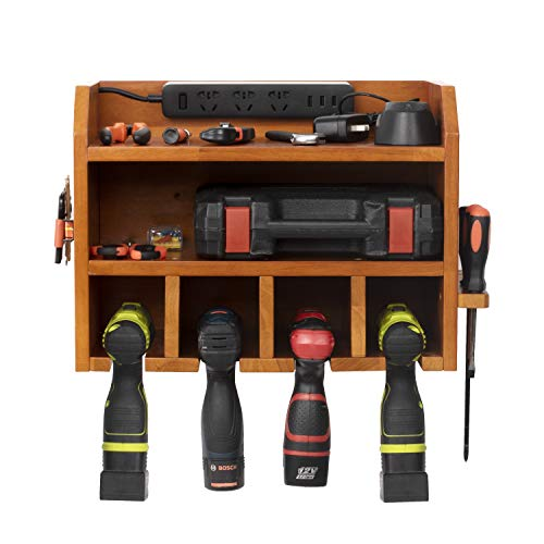 simesove Power Tools Storage, Power Tool Charging Station,4 Drill Hanging Slots, Wall Mount Tools Garage Storage, Screwdriver Cordless Drill Organizer Wooden (Power Strip is Not Included)