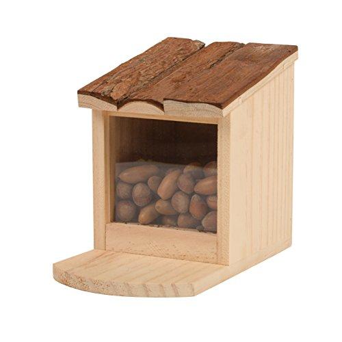 Gardigo Mangiatoia per Scoiattoli con Tetto Apribile Squirrel Feeder in Legno Distributore di Cibo per Scoiattolo Facile da Riempire Pulire