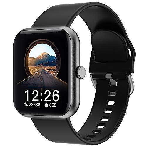 2021 - Reloj inteligente de fitness para hombre y mujer, con Bluetooth, con pulsómetro, impermeable IP67, reloj deportivo, con calorías, rastreador de actividad, para Android y iOS, color negro