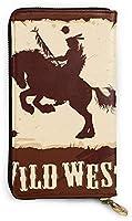 Wild West With Indian On Horseback レザーラウンドファスナー長財布メンズ 牛革大容量収纳 整理 財布 小钱包 本革さいふ 紳士 Long Wall