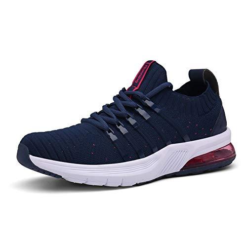 Sumateng Hombre Mujer Zapatillas de Deportes Zapatos Deportivos Aire Libre para Correr Calzado Sneakers Running Blue Pink 38 EU