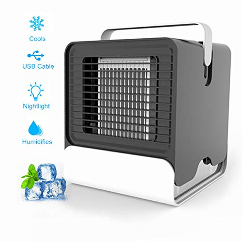 DAYSALE Portable Air Cooler, Personal Air Conditioner 3-in-1 Mini USB Air Conditioner, Mini USB Fan Evaporative Spray Humidifier Purifier, Handle Cooler Air Humidifier for Home, Office and Room