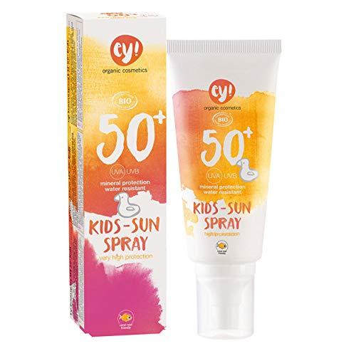 ey! organic cosmetics Sunspray KIDS Sonnenspray LSF 50+ wasserfest, vegan, ohne Mikroplastik, Naturkosmetik für Gesicht und Körper, 1er Pack (1 x 100ml)