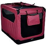 AmazonBasics – Transportín para mascotas abatible, transportable y suave de gran calidad, 1 m, Rojo
