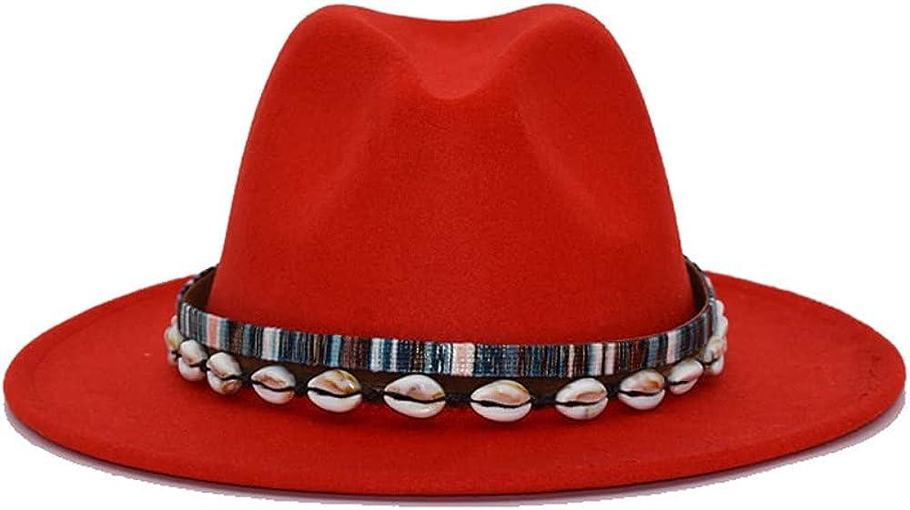 Women Men Fedora Hats Wide Brim Felt Hats Folk-Custom Panama Hats with Shell Decoration