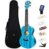 Enya Concert Ukulele 23 Inch Blue Solid Mahogany Top with Ukulele Starter Kit Includes Online Lessons, Tuner,Case,...