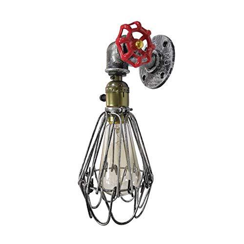 NZDY Lámpara de Pared de Tubería de Agua Industrial Retro Luces de Pared Creativas Pequeña Jaula de Hierro Personalidad Aplique de Pared E27 Base Linterna de Pared Iluminación para Bar Restaurante Lu