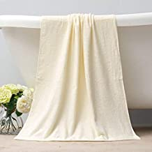 Bamboo Fiber Bath Towel, Bamboo Charcoal, Bath Towel, Soft And Strong Absorbent Towel For Adults,Yellowish Rice,138X68Cm
