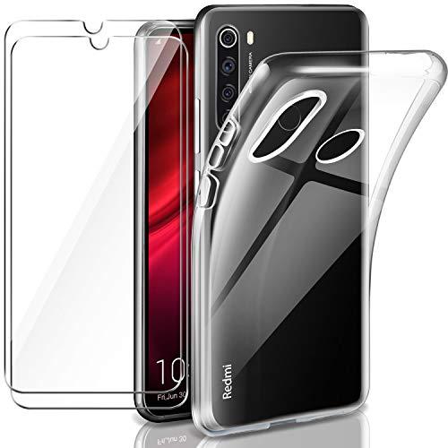 Leathlux Xiaomi Redmi Note 8T Hülle + [2 Stück] Panzerglas Schutzfolie, Redmi Note 8T Durchsichtig Case Transparent Silikon TPU Schutzhülle 9H Härte HD Panzerglasfolie Glas für Xiaomi Redmi Note 8T