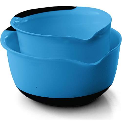 Gorilla Grip Original Mixing Bowls Set of 2, Slip Resistant Bottom, Includes 5 Qt and 3 Quart Nested Bowl, Dishwasher Safe, Grip Handle for Easy Mix, Pour Spout, Baking and Cooking 2 Piece Set, Aqua