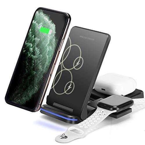 Limxems Wireless Charger,15W Schnelles Kabelloses Ladegerät,3 in 1 Qi-Zertifiziert Induktive ladestation für Apple Watch SE/6/5/4/3/2, AirPods Pro,iPhone 12/11/SE 2020/XS/XR/8 (Kein Adapter)