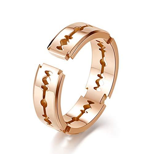 Aienid Ring Titan Carbon Rasierklingen Roségold Ring für Unisex Size:62 (19.7)