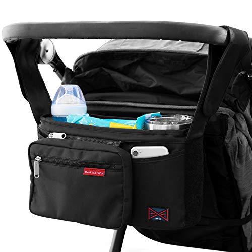Bag Nation Universal-Kinderwagen-Organizer mit Getränkehaltern, großem Hauptfach, kompatibel mit Uppababy, Baby Jogger, Britax, Bugaboo, BOB, Regenschirm und Haustier-Kinderwagen, Schwarz