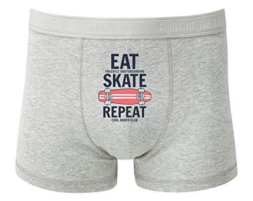 Druckerlebnis24 Boxershort - Eat Skate Repeat Skateboard - Unterhose für Herren und Männer