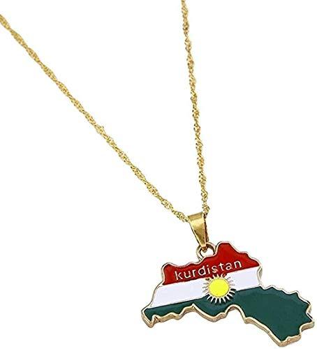 huangxuanchen co.,ltd Collar Collar Color Dorado Región del Kurdistán Mapa Collares Pendientes Joyas con Dijes para Mujeres Hombres