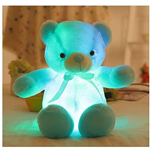 Miffen Oso De Peluche Interactivo De Aprendizaje,Regalo para Bebé Niña Calmante del Sueño Quitamiedos Infantil para Luz De Noche De Regalo Brillante (Color : Blue, Size : 20in)