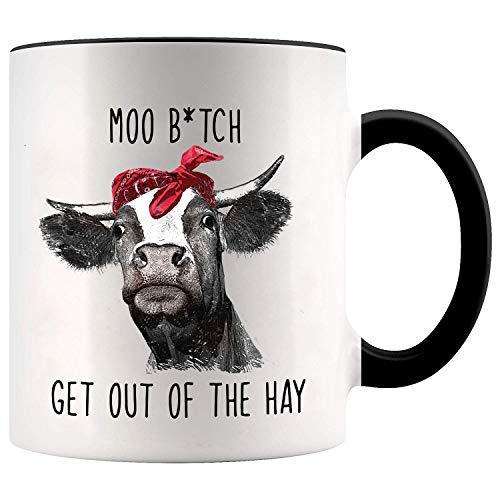 YouNique Designs Kaffeetasse mit Kuh-Motiv, 325 ml, Kuh-Geschenk für Kuh-Liebhaber, Kuh-Tasse, Kaffeetasse (schwarzer Griff)