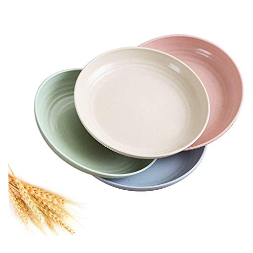 JIAX Plates Set of 4 Pack Unbreakable Lightweight Wheat Straw Plates, Reusable Plate Set for Kids Children Adult, Dinner Plates Dishwasher & Microwave Safe (Size : Large)