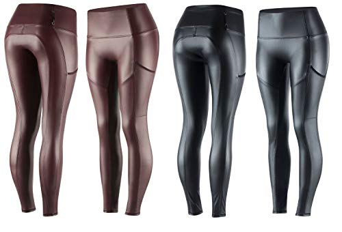 netproshop Damen Reithose Modische Leggings im Lederlook Vollbesatz, Groesse Damen:44, Farbe:Bordeaux