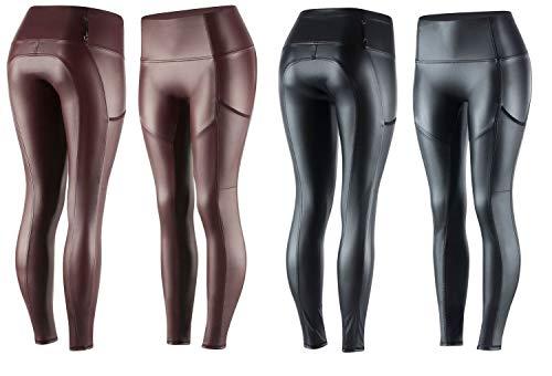 NETPROSHOP dames rijbroek modieuze leggings in lederlook volledig bekleed