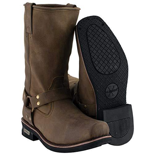 Xelement 1556 'Crazy Horse' Men's Brown Harness Motorcycle Boots - 13