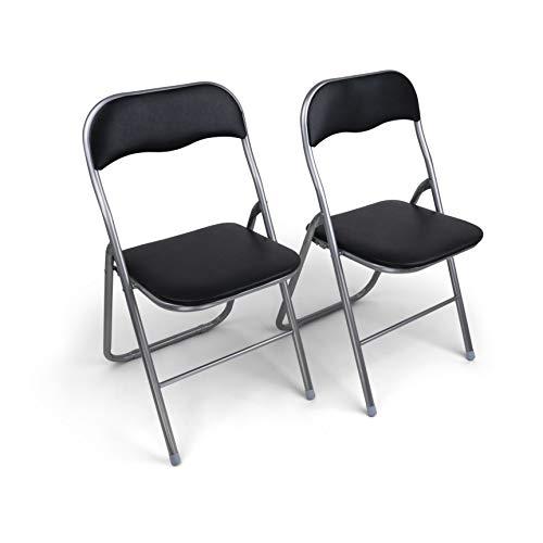 HAEST Set: 2X Klappstühle mit Metallrahmen und Kunstlederbezug, Silber-schwarz