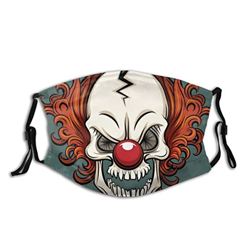 yanfind Clown Spooky Evil Joker Card Circus Vector Human Skeleton People Halloween Cracked Fear Human Face Dust Washable Reusable Filter and Reusable Mouth Warm Windproof Cotton Face