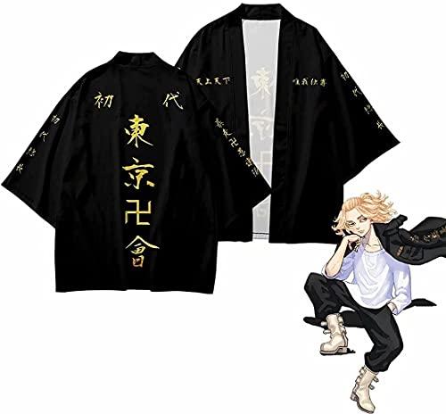 Capa de anime Tokyo Revengers Coat Cape, Ryuguji Ken Cosplay Disfraz negro Cool Coat Jacket Tops Uniforme Abrigo Halloween Carnaval Cabo para Mujeres Hombres (AC, L)
