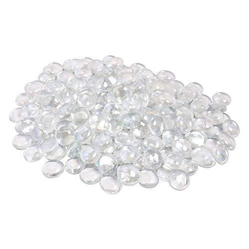 ARSUK Glaskiesel dekorative Steine Perlen Nuggets Edelsteine Mosaikfliesen für Vasen Craft Garden Bowls Aquarium (100 klare Kieselsteine)