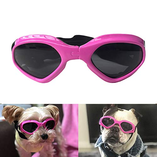 Enjoying Dog Goggles UV Protection Doggy Goggles Adjustable Small Medium Breed for Puppy Eye Wear, Pink