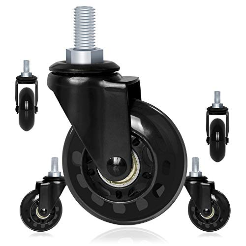 2.5'' Caster Wheels for Office Chair Replacement by 8T8 - Heavy Duty Rubber Casters for Wood Hardwood Floors-Casters with Threaded Stem 5/16''(Set of 5)- Quiet & Smooth Rolling Wheels for Carpet