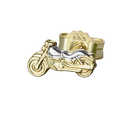 NKlaus Einzel kleine Motorrad 333er Gold 8 Karat Ohrstecker Bicolor 8*4mm Ohrring 4834