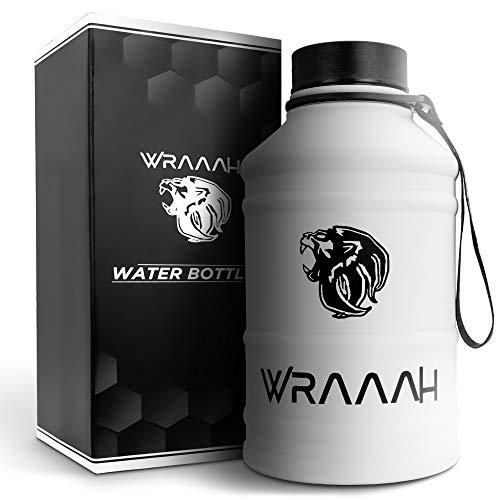 WRAAAH Trinkflasche Edelstahl 2 Liter I Extra Robust & BPA Frei I Premium Trinkflasche 2L für Sport, Fitness & Outdoor I Ideal geeignet für Kohlensäure I Gym Water Jug