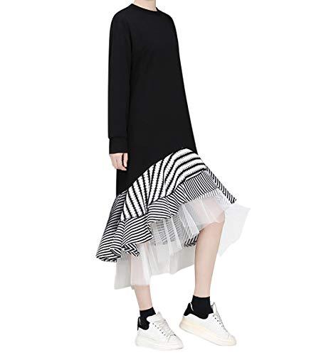 Xsayjia Damen Strickpullover Kapuzenpullove Sweatshirts Hoodie Frauen Übergroßer und bedruckter weißer Gazerock Besonders minimalistisches Designkleid